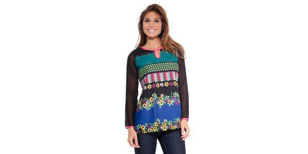 Dámske tričko s kvetinovou potlačou Peace&Love