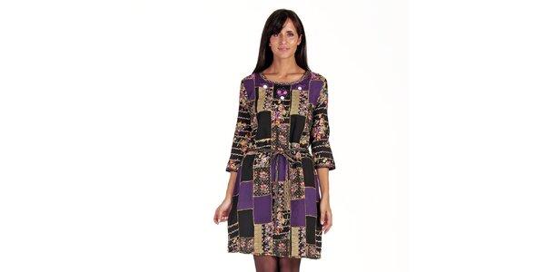 Dámske patchworkové šaty s opaskom Peace&Love