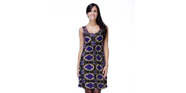 Dámske čierno-fialové šaty bez rukávov Peace&Love