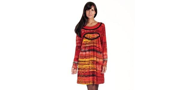 Dámske oranžovo-červené šaty s potlačou Peace&Love