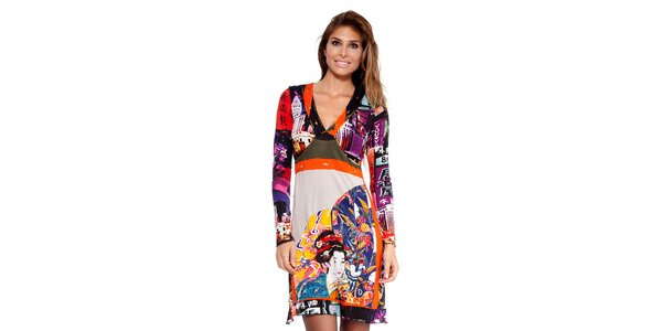 Dámske pestré šaty s japonskou potlačou Peace&Love