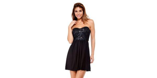 Dámske malé čierne šaty s aplikáciami Peace&Love