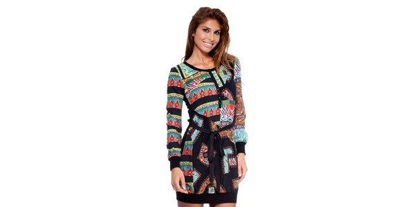 Dámske šaty s farebnou potlačou a čiernymi lemami Peace&Love