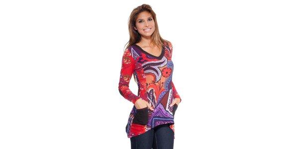 Dámske farebné cípaté tričko Peace&Love