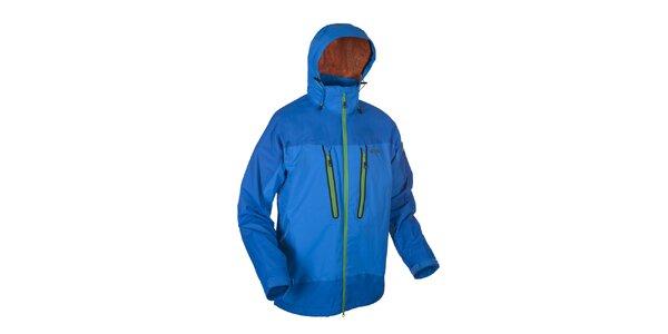 Pánska modrá outdoorová bunda Envy s oranžovo podšitou kapucňou