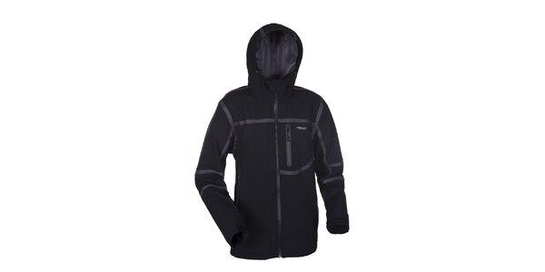 Pánska čierna softshellová bunda Envy so šedými prúžkami