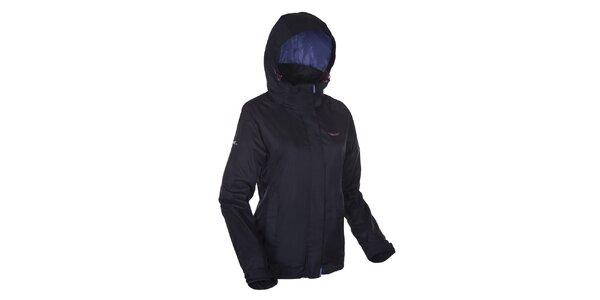 Dámska čierna bunda Envy s fialovo podšitou kapucňou