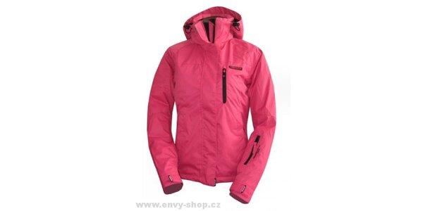 Dámska ružová bunda s čiernymi zipsami Envy