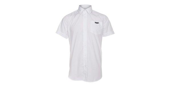 Pánska biela košeľa Lonsdale s krátkým rukávom a čiernou výšivkou