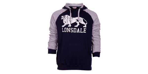 Pánska modro-šedá mikina Lonsdale