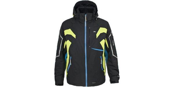 Pánska čierna lyžiarska bunda s farebnými detailmi Trespass