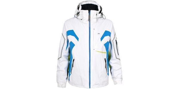 Pánska biela lyžiarska bunda s farebnými detailmi Trespass