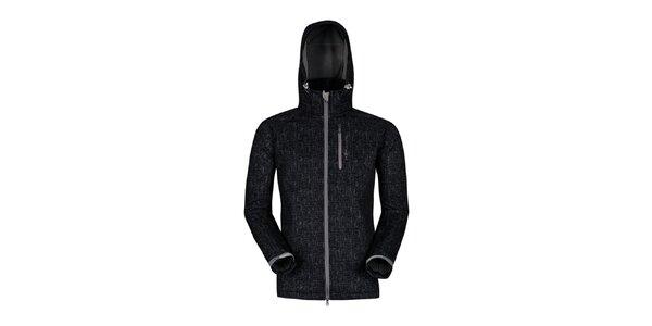 Pánska čierna outdoorová bunda s potlačou Husky