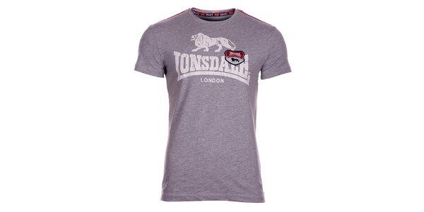 Pánske svetlo šedé melírované tričko Lonsdale s potlačou