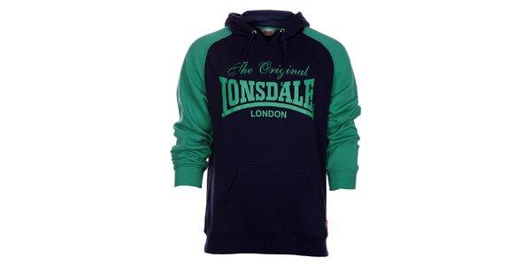 Pánska modro-zelená mikina Lonsdale s potlačou