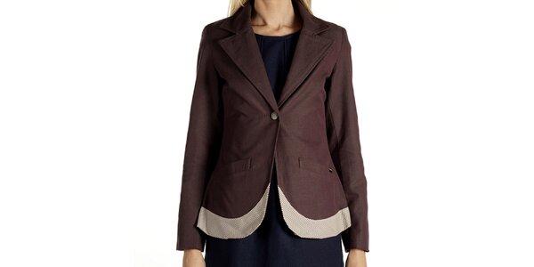 Dámske hnedé sako so svetlým lemom Laga