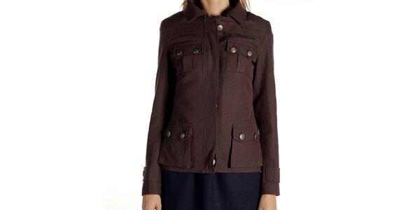 Dámsky hnedý kabátik s vreckami Laga