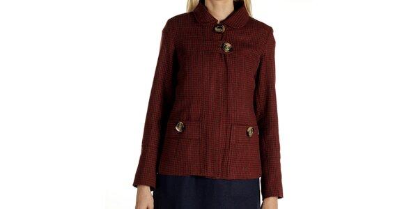Dámsky krátky červeno vzorovaný kabátik Laga