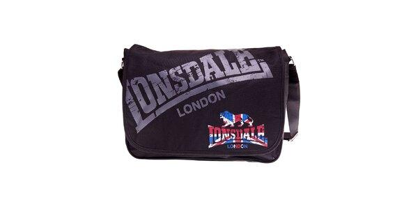 Čierna taška cez rameno Lonsdale s potlačou