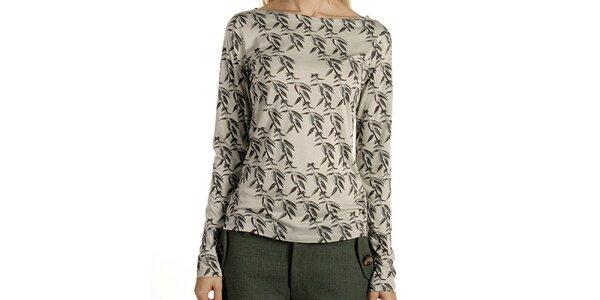 Dámske tričko so vzorom a dlhým rukávom Laga