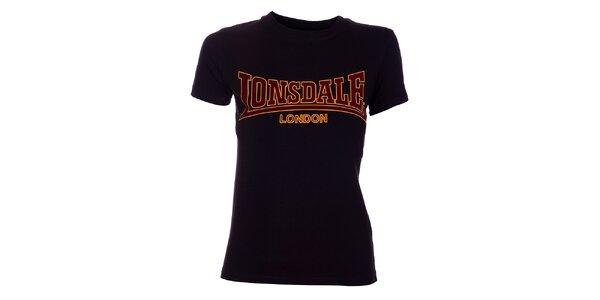 Dámske čierne tričko Lonsdale so semišovou potlačou