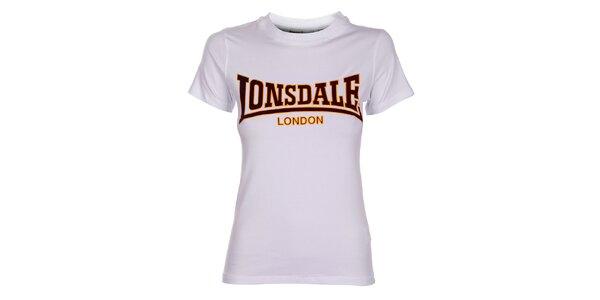 Dámske biele tričko Lonsdale so semišovou potlačou