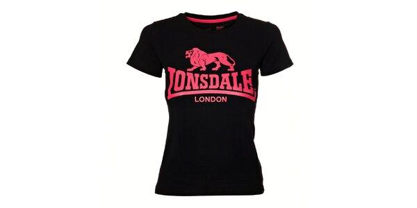 Dámske čierne tričko Lonsdale s ružovou potlačou