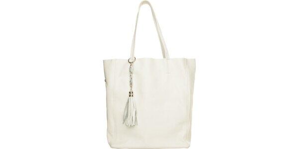 Dámska biela kabelka Made in Italia s príveskom