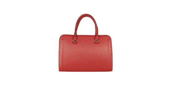 Dámska kožená bordó kabelka Made in Italia