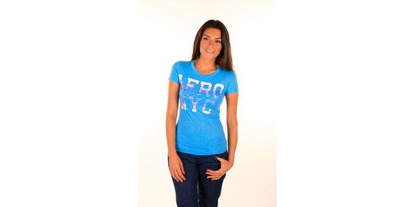 Dámske nebesky modré tričko s farebným nápisom Aéropostale