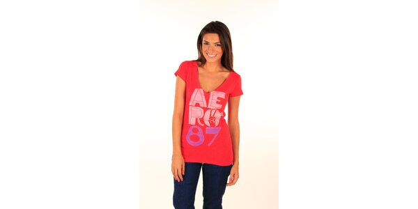Dámske červené tričko s nápisom Aéropostale