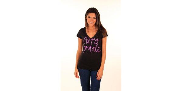 Dámske čierne tričko s ružovým nápisom Aéripostale