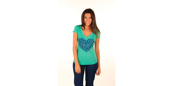 Dámske mentolovo zelené tričko s potlačou srdca Aéropostale