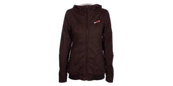 Dámsky tmavo fialový kabátik Fundango s kožúškom