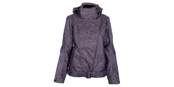 Dámska zimná tmavo šedá bunda Fundango s membránou a leopardím vzorom