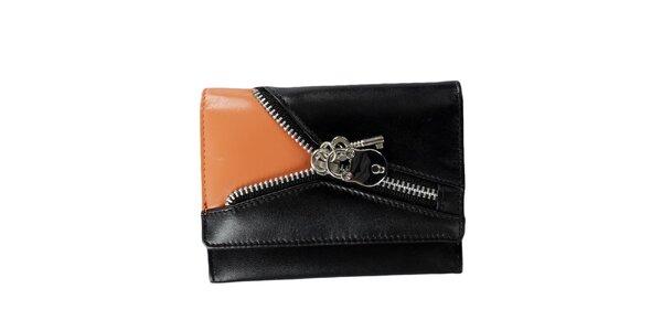 Dámska čierno-oranžová peňaženka so zipsom Menbur