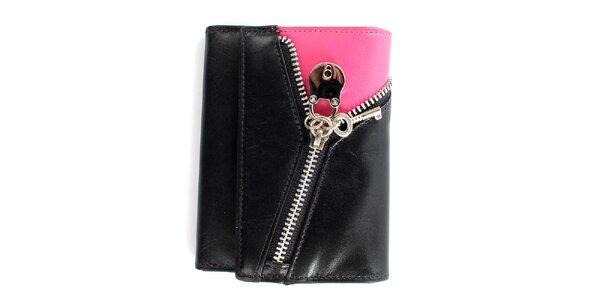 Dámska čierno-ružová peňaženka so zipsom Menbur