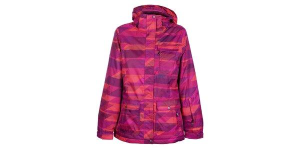 Dámska ružová lyžiarska bunda Fundango s potlačou