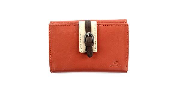 Dámska oranžová kožená peňaženka s prackou Menbur