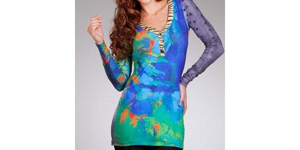 Dámske zeleno-modré šaty Culito from Spain s hlbokým výstrihom