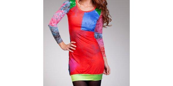 Dámske farebné šaty so zelenými flitrami Culito from Spain