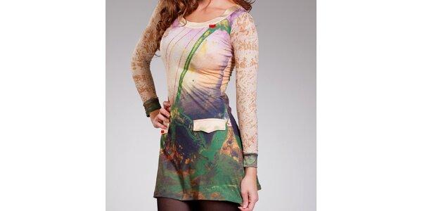 Dámske zeleno-béžové šaty Culito from Spain s falošnými vreckami