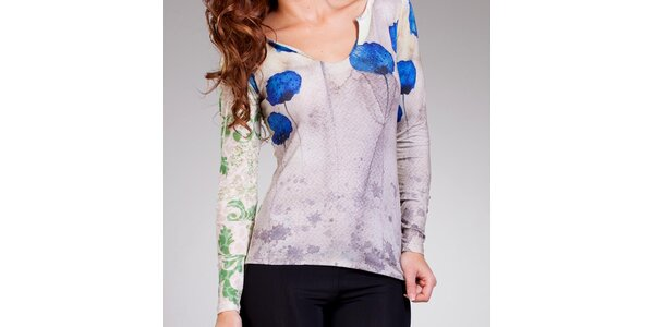 Dámske svetlé tričko s modrou potlačou Culito from Spain