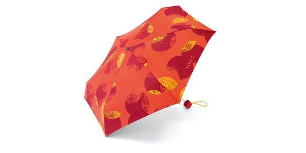 Oranžový skladací dáždnik so vzorom Esprit