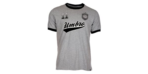 Pánske svetlo šedé melírované tričko Umbro s potlačou
