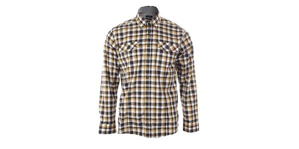 Pánska čierno-horčicová károvaná košeľa Pietro Filipi