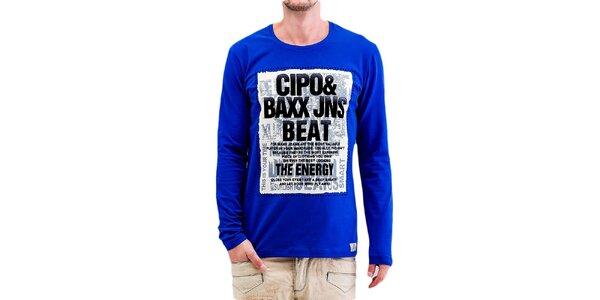 Pánske modré tričko s dlhým rukávom Cipo & Baxx