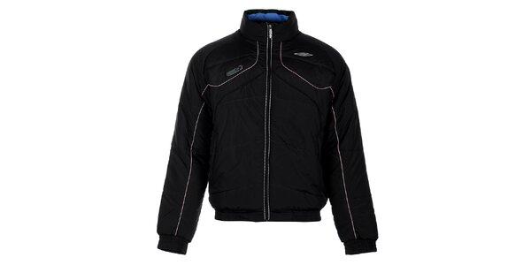 Pánska čierna zimná prešívaná bunda Umbro s béžovými detailami