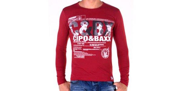 Pánske bordó tričko s dlhým rukávom Cipo & Baxx