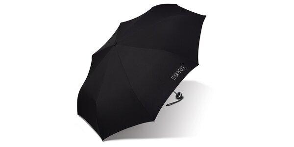 Dámsky čierny skladací dáždnik Esprit s kamienkami